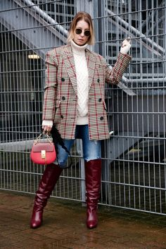 Burgundy Boots, Red Boots, Houndstooth Jacket, Knee High Boots, Leather Boots, Jackets For Women, My Style, Womens Fashion, Sexy