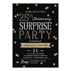 25th Wedding Anniversary Invitations Glitter Confetti Surprise Party Card Wine