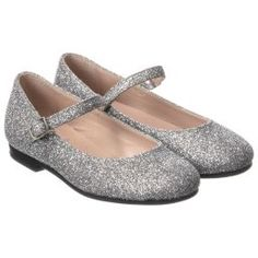 44c49238996840 Il Gufo - Girls Silver Glitter Shoes