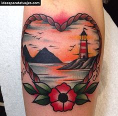 Image result for lighthouse traditional tattoo