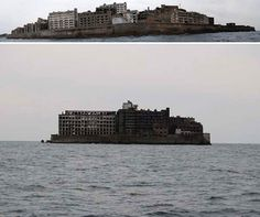 """Hashima Island (Battleship Island) off the coast of Japan. Abandoned coal mining site and once a thriving city. Now left to the sea gulls. Featured in Alan Weisman's book """"The World Without Us"""""""