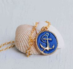Gold & BLUE Anchor Necklace Nautical Jewelry