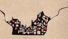 """""""Paisagem"""", Caneta e lápis de cor sobre papel, 29,7 x 21 cm, 2014"""