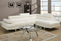 Amazon.com - Modern Cream White Faux Leather Sectional - ~$750