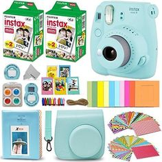 Preteen and teen girls will absolutely adore this Fujifilm Instax Mini 9 instant camera and bundle set. They're available in fun colors such as cobalt blue, flamingo pink, lime green, ice blue, and smoky white.