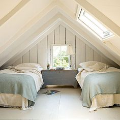 Twin beds fit perfectly in this A-frame ceiling bedroom. | Coastalliving.com