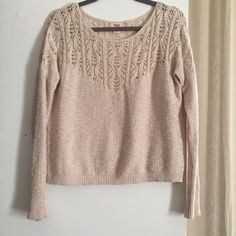Mossimo Supply Co. Sweater 100% Cotton | Beautiful Knit Style | Light Summer Sweater | Cream Mossimo Supply Co Sweaters Crew & Scoop Necks