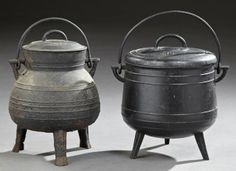 Two Cast Iron Cooking Cauldrons, late 19th c., Europe.