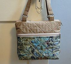 Handbag, Aqua, Quilted Tote, Cream, Woman's Purse, Medium Purse. Zipped Purse by rosemontbags on Etsy
