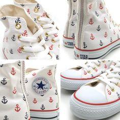 Nautical theme never gets old and with summer just few months away, these CONVERSE Chuck Taylor All Star Sailing Hi models should get plenty of wear. Converse Outfits, Converse All Star, Cool Converse, Converse Sneakers, Converse Chuck Taylor All Star, Converse Classic, Galaxy Converse, Chuck Taylors, Cute Shoes