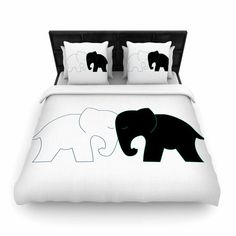 """NL Designs """"Black And White Elephant Love"""" Abstract Animals Woven Duvet Cover"""