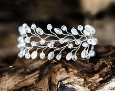 619_Clear crystal bridal wristband Silver bracelet by ArsiArt