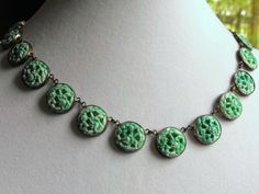 Art Deco Peking green carved glass necklace, 1920s