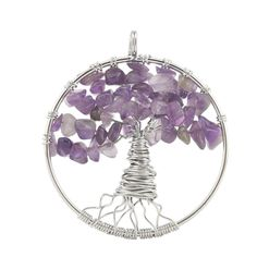 "SAILING Natural Amethyst Crystal Wire Warped Pendant DIY Silver Beads Chain Necklace Amulet Jewelry. Listing including: 1 pendant and 1 silver chain. Material: New alloy silver chain,natural crystal Quartz. Size: 46.5cm chain length, 50mm diameter round tree roop,15g net weight approx. Design: this pendant design was inspired by 7 Chakra.Also called ""Tree Of Life"", the natural stone are functional, helping the owner improve blood system regularately,also improve people sleep peaceful…"