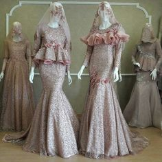 Keren Muslimah Wedding Dress, Muslim Wedding Dresses, Muslim Dress, Bridesmaid Dresses, Dress Brukat, Kebaya Dress, Dress Outfits, Hijab Evening Dress, Hijab Dress Party
