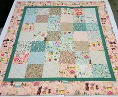 Goldilocks Baby Quilt-Quilted Baby Blanket-Woodland Patchwork Baby Bedding-Bears-Forest-Baby Shower Gift, Homemade-Handmade - This little quilt was made with a new designer collection of fabrics about a classic fairy tale, Goldilocks and the 3 bears, sooo cute! Ive constructed and quilted this quilt in a newer modern style sure to please new mothers! The batting used mainly cotton with a small percentage of polyester, which adds to the quilts durability. It is dense and fibers are tightly…