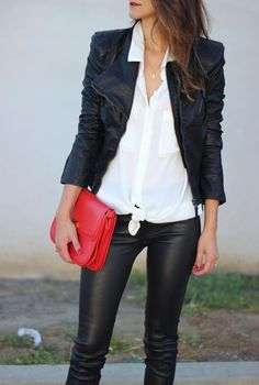 |white blouse, leather jacket, leather pants, color accent, red bag|