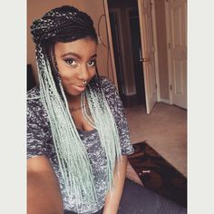 Handmade OMBRE Box Braid WHOLE LACE Wig Black Silver Grey ...