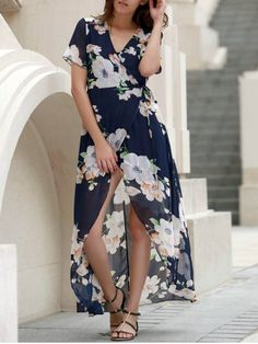 Sexy V-Neck Short Sleeve Floral Printed High Slit Dress For Women
