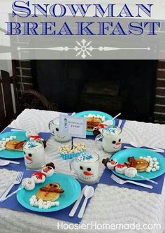 Snowman breakfast. Boys would love that next year!