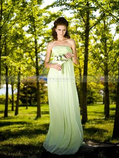 Strapless Chiffon Empire Bridesmaid Dress with Elastic Satin Bust