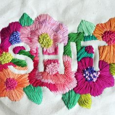 #embroiderytypography #embroidery #customhate #Flowerpower #craftsposure #typography #contemporaryembroidery #floralembroidery #stitchesmapibg