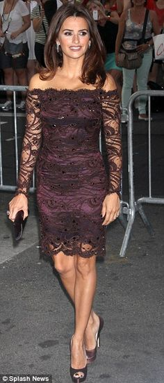 Penelope Cruz Purple Romantic Dress