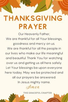 6 Best Thanksgiving Dinner Prayers - The Graceful Chapter