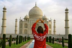 Red Spirit Football Jersey® with white print in front of the Taj Mahal! Thanks Megan :-) https://www.facebook.com/spiritfootballjersey
