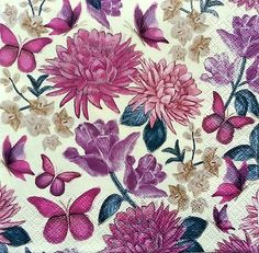 4 Single Lunch Paper Napkins for Decoupage Party Table Craft Purple Flowers M