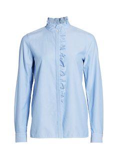 $89.4. LAFAYETTE 148 Top Women'S Eliza Ruffle-Trim Blouse #lafayette148 #top #blouse #down #clothing Ruffle Collar, Ruffle Trim, Linen Blouse, Clothes Crafts, Lafayette 148, Saks Fifth Avenue, Long Sleeve, Clothing, Model
