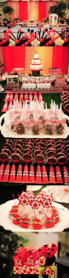 festa joaninha vermelho
