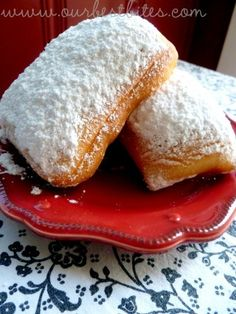 Beignets  Recipe by Our Best Bites  1 c. whole milk  1/4 c. + 1 Tbsp. sugar, divided  1/4 c. vegetable oil  1 tsp. table salt  3 1/2-4 c. all-purpose flour  1 scant tablespoon dry active yeast  1/2 c. warm (about 105 degrees) water  1 egg  Peanut oil for frying