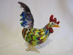 Murano Art Glass Rooster Miniature Fenicio Pulled Feather Mint Bright Colorful