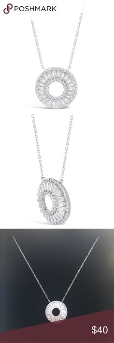 """NEW """"O"""" NECKLACE ***RESTOCKED*** NEW AND GORGEOUS """"O"""" NECKLACE STUNNING PENDENT IS BAGUETTE CUT ELEMENTS SET IN 925 STERLING SILVER AND CHAIN NO MARKINGS BUT INVOICE IN PICS PENDENT MEASURES APPROX .75"""" CHAIN IS APPROX 16"""" WITH 2"""" EXTENDER PLZ SEE ALL PUCS AS THEY'RE A HUGE PART OF THE DESCRIPTION ❌trades price firm❌ Jewelry Necklaces"""