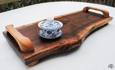 Live Edge Walnut Cutting Board with Birch Handles, Serving Tray, Bread Board, Cheese Board, Tea Tray, Gourmet Kitchen, Chef, Foodie Gift