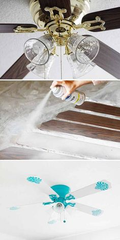 I do love me some spray paint! There are some great ideas here for spray paint uses Spray Paint Projects, Ceiling Fan Makeover, Ideas Geniales, Wood Countertops, Cool House Designs, Diy Home Improvement, Spray Painting, Home Projects, Home Remodeling