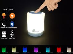 Bluetooth Speaker with Lights Dimmable Night Light Wireless Hands-Free Touch Control LED Lamp - Lyallpur Shopping Solutions Bluetooth, Led Lamp, Night Light, Table Lamp, Coding, Hands, Touch, Lights, Retail Price