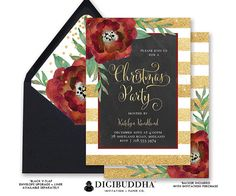CHRISTMAS PARTY INVITATION Striped Gold Glitter Holiday Party Brunch Dinner Card Chalkboard Confetti Ready Made or DiY Printable - Katelyn style. Black envelopes and matching envelope liners also available. Only at digibuddha.com
