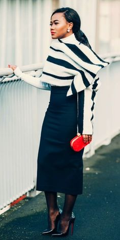 Striped wrap and midi pencil skirt chic styleismything.blogspot.com