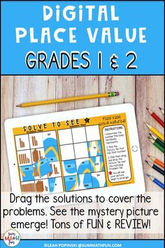 Engage your first and second grade students with this digital place value review. It's tons of fun! Your kids will move the solution tiles and  Solve To See the hidden picture created in Google Slides™. It is self-checking and the perfect resource for engaging your kids in digital math activities. It can easily be assigned using Google Classroom™ and is ideal for center work and workstations, too. Place Value Activities, Fun Math Activities, Math Resources, Math Games, Teaching Place Values, Math Tubs, Physical Education Games, Math Workshop, Math Lessons