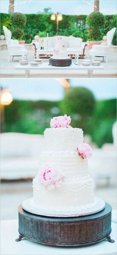 Vintage shabby chic wedding cake