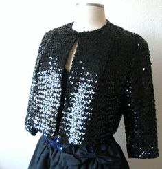 Vintage Black Sequin Cropped Jacket Formal Cardigan Style - CIJ SALE. $68.00, via Etsy.