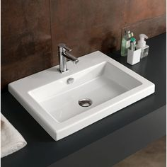 Bathroom Sink, Tecla CAN01011, Rectangular White Ceramic Self Rimming or Wall Mounted Sink CAN01011