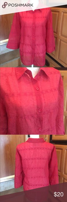 Alfred Dunner Rust Red Button Up Sheer Blouse 18 Good condition, no flaws noticed. Please note i am selling this for my mother and may not be familiar with items history. I do NOT trade or hold items. Let's make a bundle deal! Alfred Dunner Tops Blouses