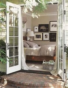 French Doors - swoon - I would love to have those from our cozy little master bedroom - love the roundish step too