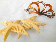 Vintage celluloid bird brooch and rhinestone hair by houuseofwren