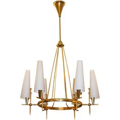 Posh Italian 50's Brass Chandelier | From a unique collection of antique and modern chandeliers and pendants  at http://www.1stdibs.com/furniture/lighting/chandeliers-pendant-lights/