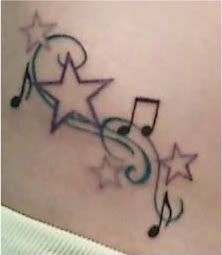 Music Notes and Stars Tattoos