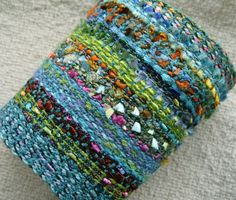 Handwoven Cuff Fabric Bracelet Sea Breeze by barefootweaver, $36.00